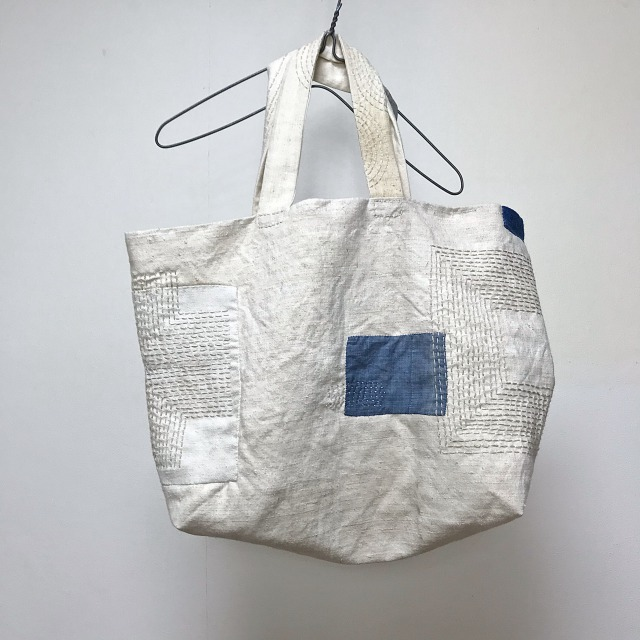 Old  French Hemp and Linen Patch & Darned Tote Bag