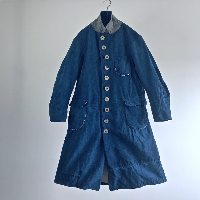 Antique French Indigo Dyed Metis made Worker Mquignon Coat