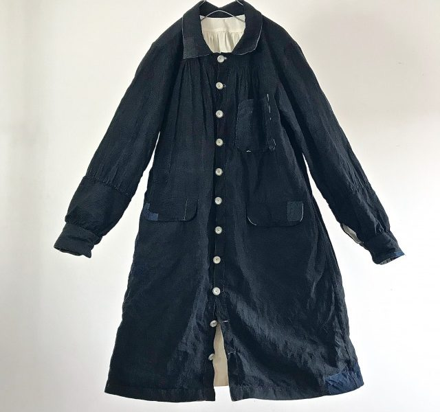 Early 20th Antique French Indigo Linen Maquignon Smock Coat