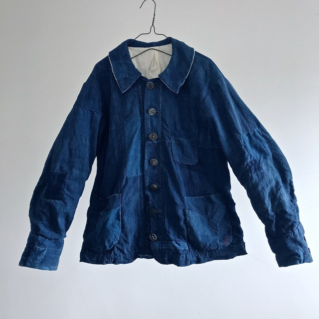 Vintage  French Indigo Dyed Rustic Linen Old Work Jacket