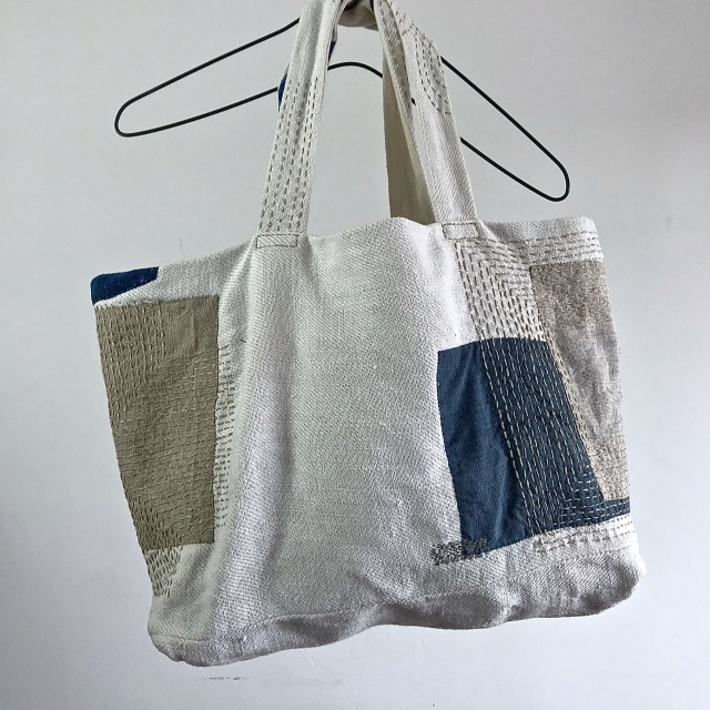 End of 19th Century Antique French  Linen Patch & Darned Tote