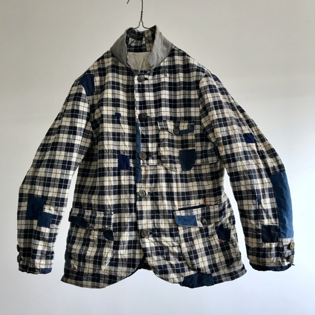 Old Check Fabric Made Lot of Patch&Darning Jacket