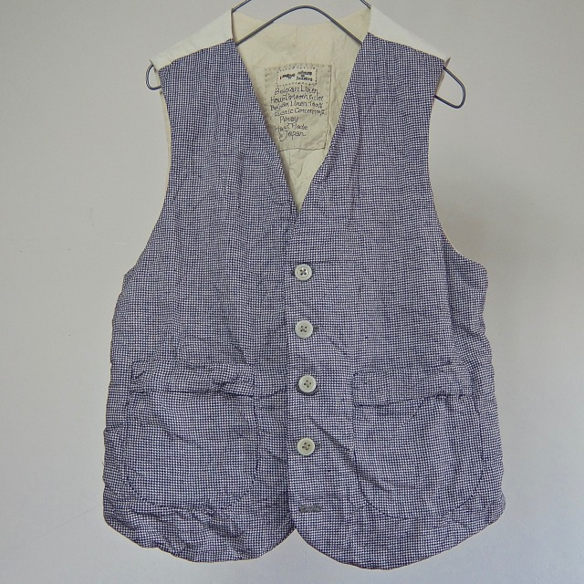 Belgian Linen Hound's-tooth Check Gilet