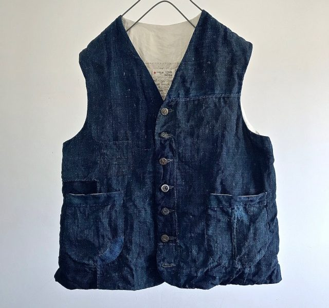 End of 19th Century  Antique  French Indigo Linen  Gilet