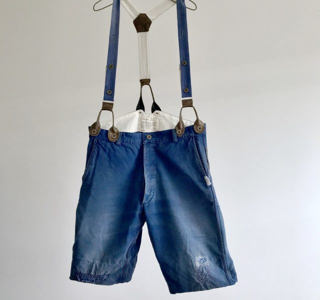 Vintage  French Chore Work Short Pants with Suspender