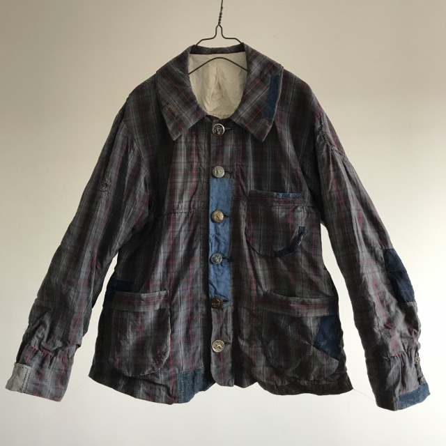 Patch and Darning Rustic Plaid Old French Work Jacket