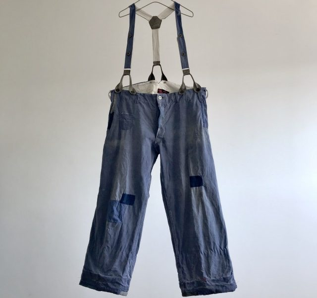 "Vintage French Indigo  Linen/Cotton Work Pants  ""Au Molinel"""