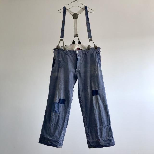 "Vintage French Indigo  Linen/Cotton Work Pants  ""Au Molinel"""