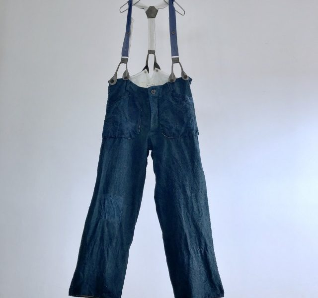 End of 19th Century  French Antique  Indigo Rustic  Linen Work Pants