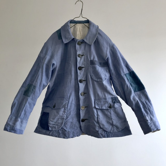 Vintage Over Dyed Woad Indigo Linen  Patched French Work Jacket