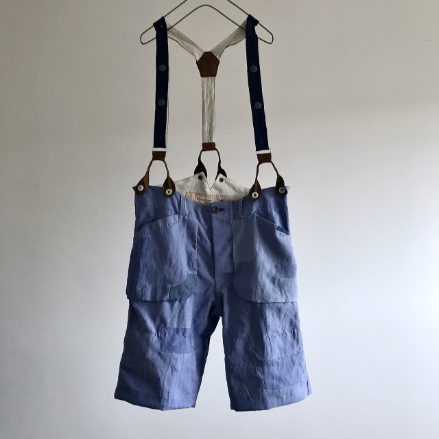 Old Woad Dyed Indigo Linen Made Patched Work Short Pants