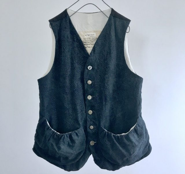 French Antique Indigo Rustic Linen Gather Pocket Gilet