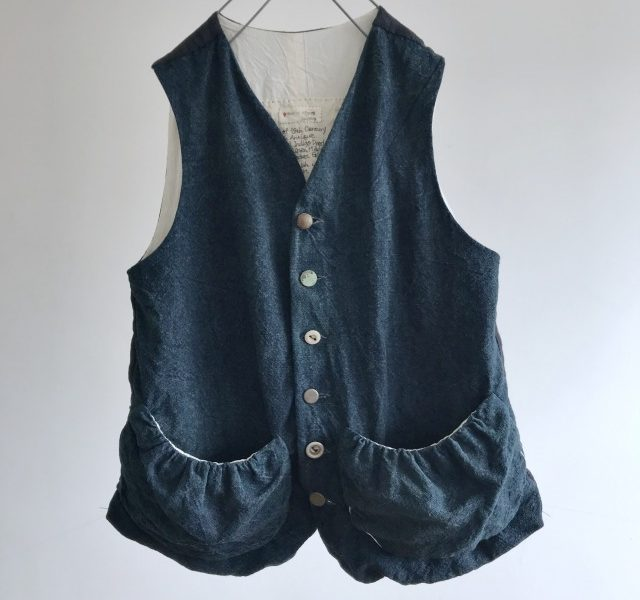 French Antique Indigo Rustic Linen Gather Pocket GiletGilet