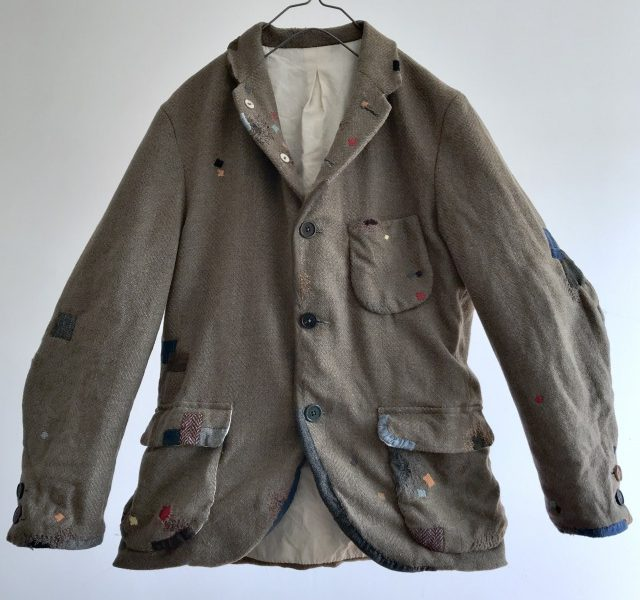 Vintage Lot of Darned and Patched Old French Tweed Jacket