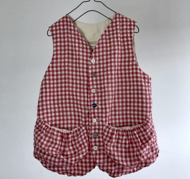 French Vintage Gingham Plaid Linen made Gather Pocket Gilet