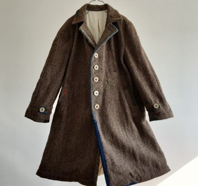 Old Harris-tweed Herringbone Over Coat