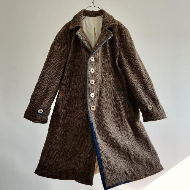 Old Harris-tweed Herringbone Over Coat