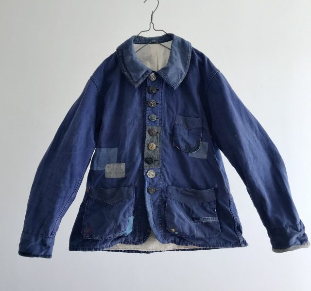 "Vintage French Hard Darned & Patched ""Blue de Travail"" Work Jacket"