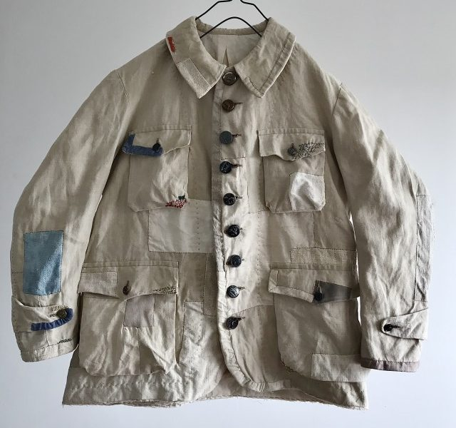 French Linen Made Lot Patch & Darned Old  Hunting Jacket