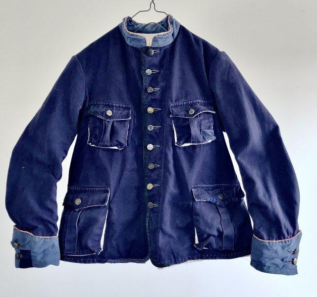"""Vintage French Indigo Dyed Linen/Cotton """" Pompiers de Lille"""" Uniform Jacket"""