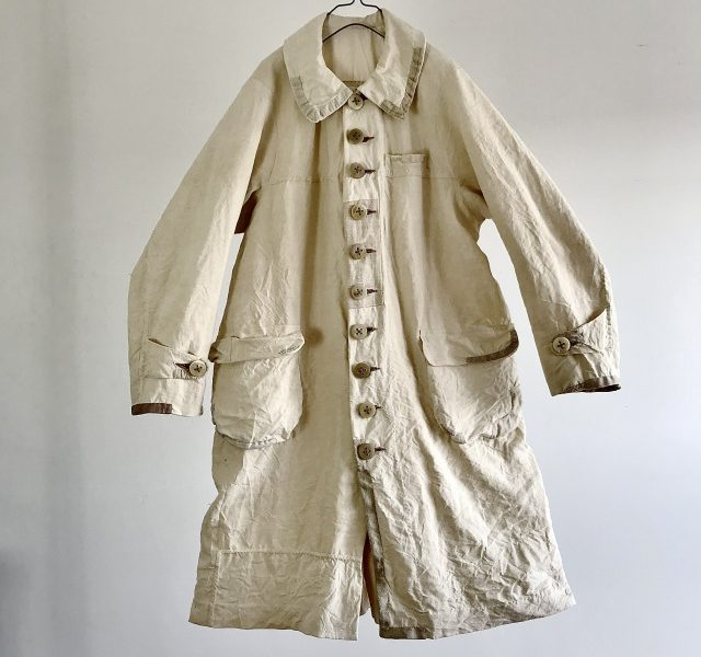 French Linen Made Antique Chore Worker Paysan Coat