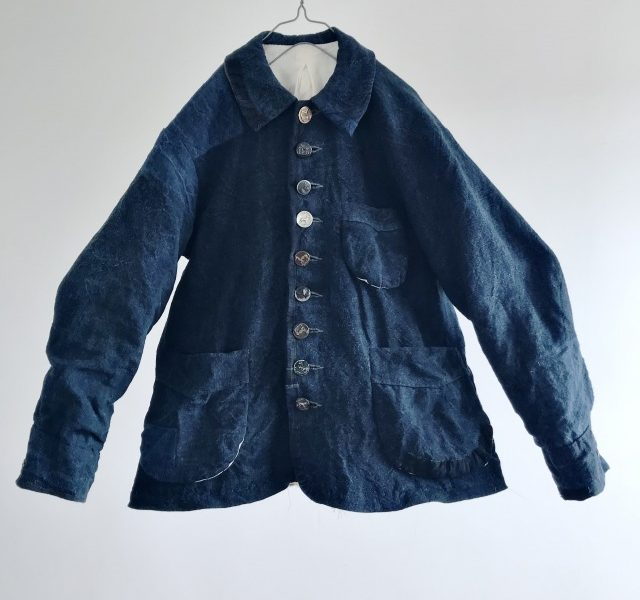 Natural Indigo Dyed French Antique Rustic Linen Made Work Jacket