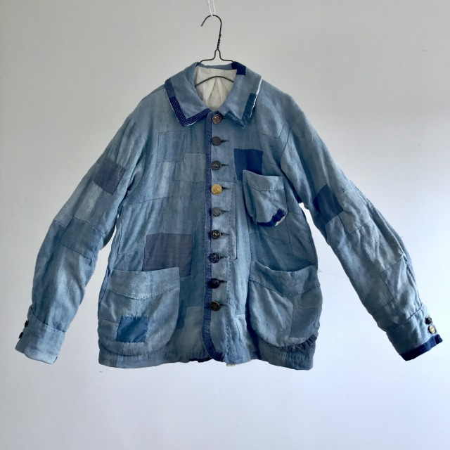 """Natural Indigo Dyed French Antique Rustic Linen Made """"Travile de Patch"""" Work Jacket"""