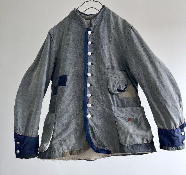 Vintage  French Fire Departments Salt&Pepper Work Uniform Jacket
