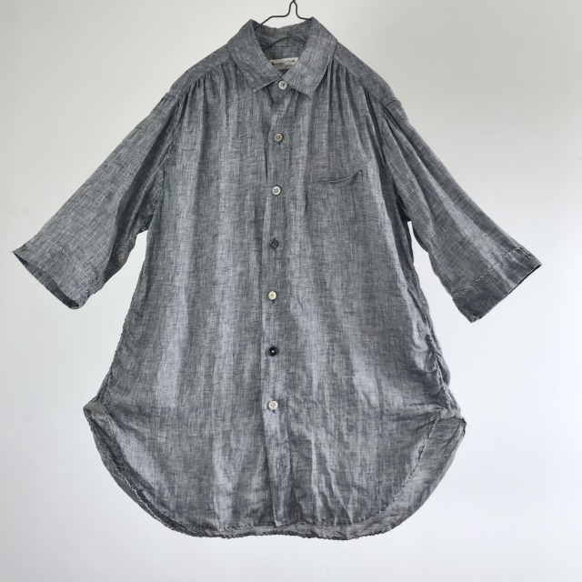 Belgian Linen Black Chambray Spiral Stitch Shirt