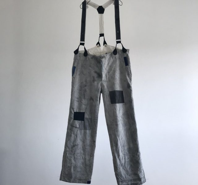 Antique India Ink Dyed French Linen Work Pants with Suspenders