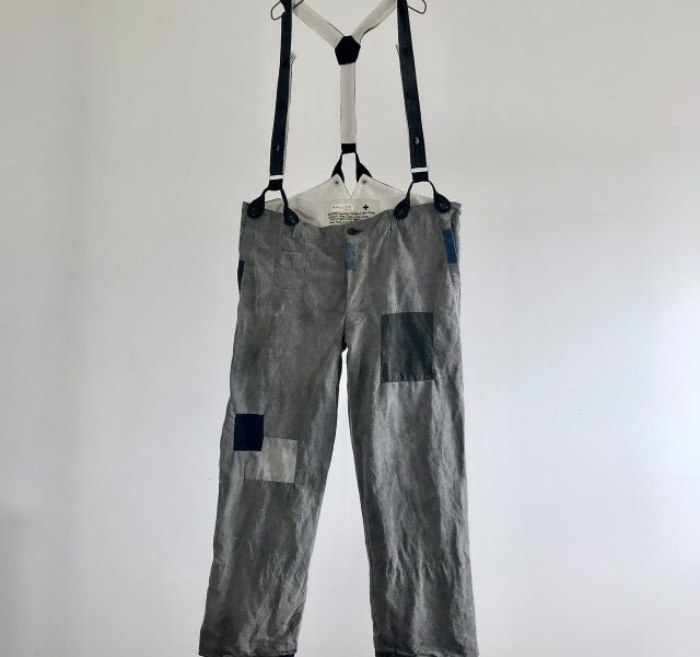 Antique India Ink Dyed French Linen/Cotton Metis made Work Pants with Suspenders