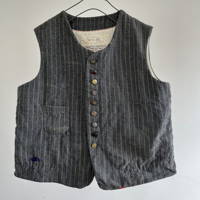 Antique French Lots of Darning Grey Stripe Wool Fabric Made Gilet