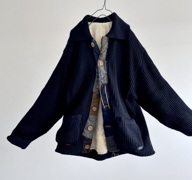 Vintage Patch and Darning  Irish Fishermans Knit made Jacket