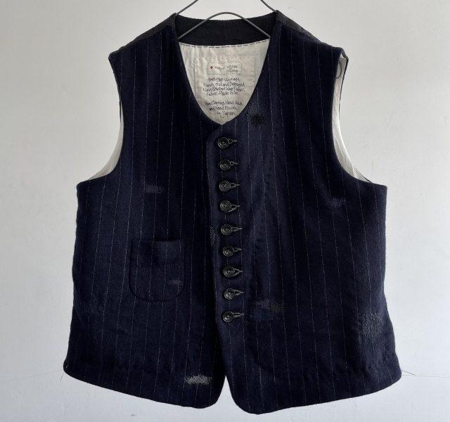 Vintage French Damaged Chalk Striped Wool Flannel Gilet